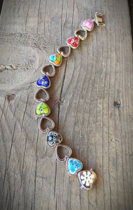 Venetian Glass Large Heart Bracelet