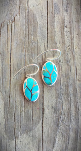 Turquoise and Sterling Silver Inlay Earrings