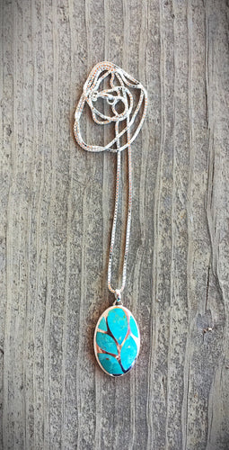 Turquoise and Sterling Silver Inlay Necklace