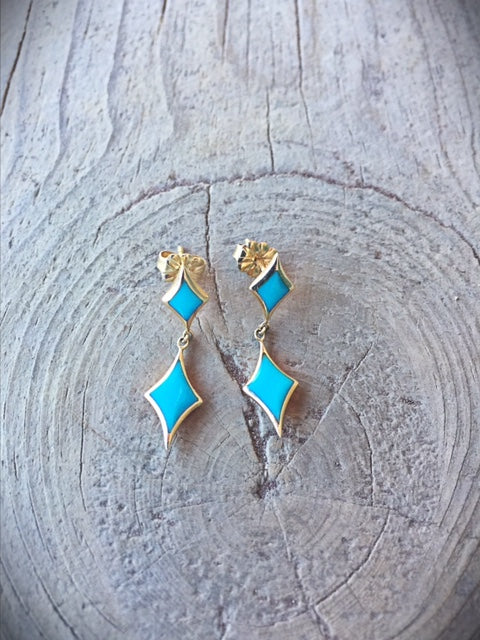 Turquoise and 14kt Gold Earrings