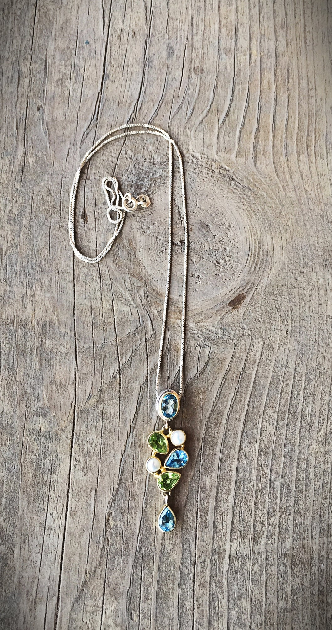 Peridot and Blue Topaz Necklace