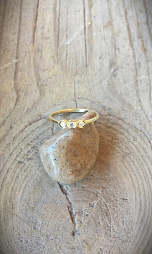 Diamond and 14kt Gold Triple Ring