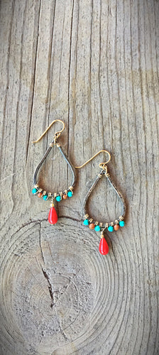 Two Tone earrings With Coral Drop