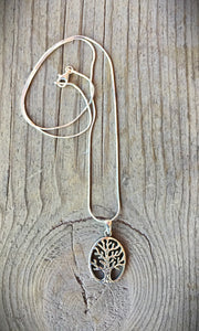 Silver Oval Tree Necklace