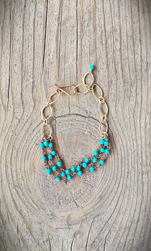 Gold Fill and Turquoise Bracelet