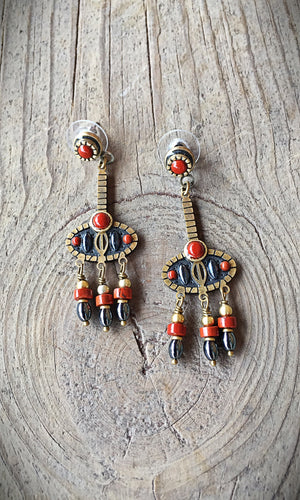 Coral and Hematite Post Earrings