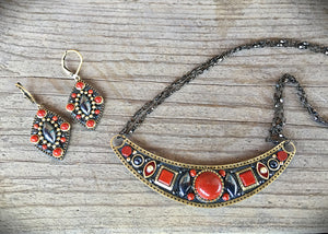 Coral and Hematite Necklace