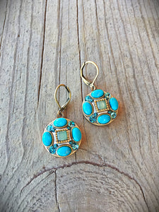 Turquoise and Jade Earrings