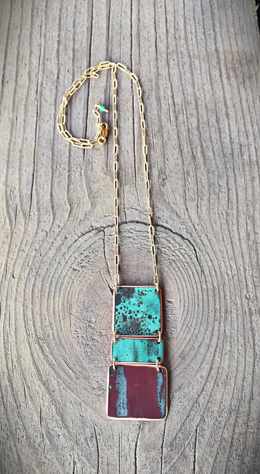 Copper and Gold Fill Block Necklace
