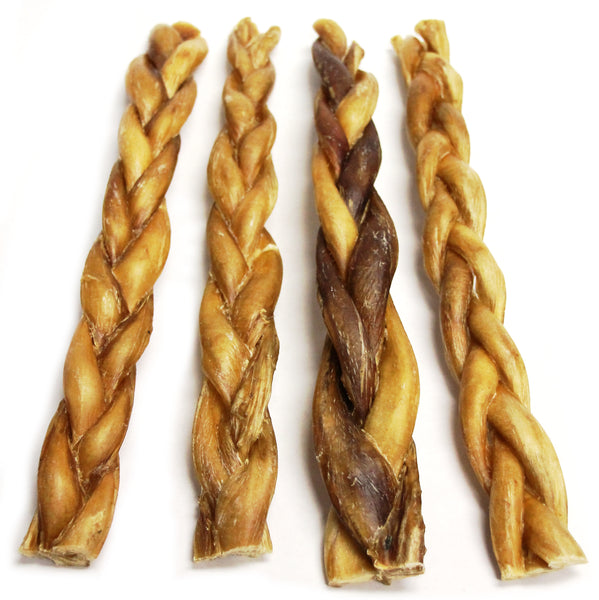 "12"" Braided Bully Sticks - Low Odor (Bulk)"