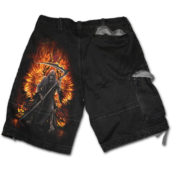 FLAMING DEATH - Vintage Cargo Shorts Black