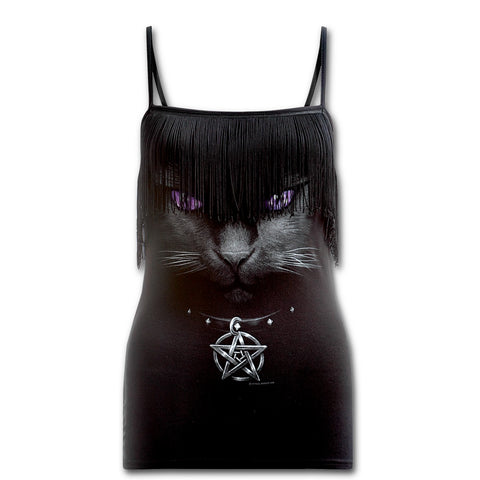 BLACK CAT - Tassel Layered Camsole Top Black - Goth Unite
