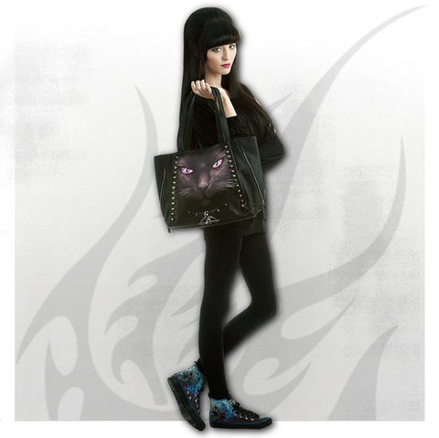 BLACK CAT - Tote Bag - Top quality PU Leather Studded - Goth Unite