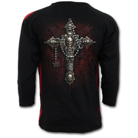 DEATH BONES - Red Ripped Longsleeve T-Shirt Black - Goth Unite