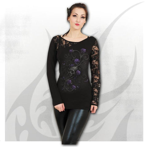ENTWINED SKULL - Lace One Shoulder Top Black - Goth Unite