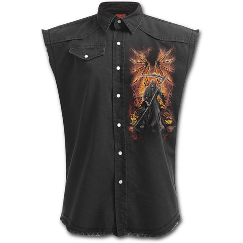 FLAMING DEATH - Sleeveless Stone Washed Worker Black - Goth Unite