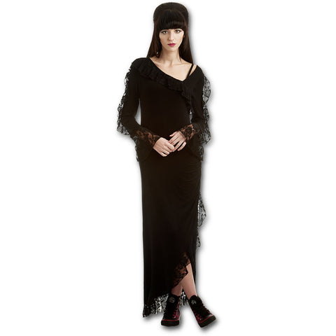 GOTHIC ELEGANCE - Lace Drape Asymmetric Neck Gothic Dress - Goth Unite