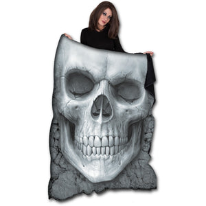 SOLEMN SKULL - Fleece Blanket with Double Sided Print goth unite