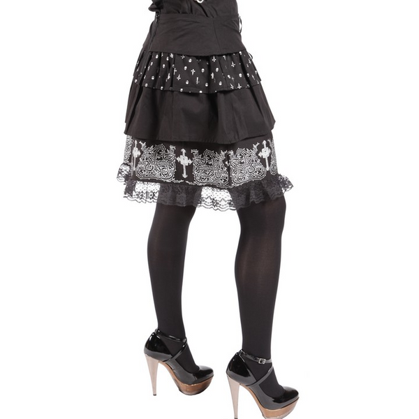 5 tiered bl/wh skirt