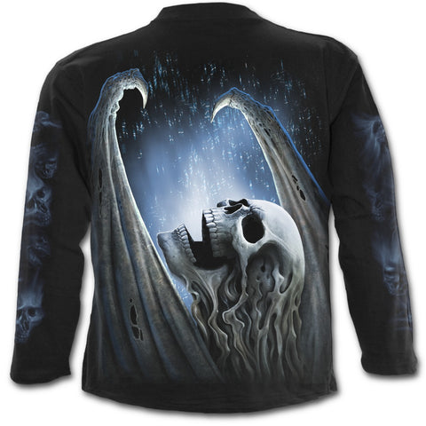 WINGED SKELTON - Longsleeve T-Shirt Black - Goth Unite