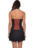 Tripp Red Plaid Halter Dress