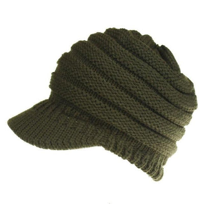 Ponytail Warm Knitted Beanie With Visor - Army Green