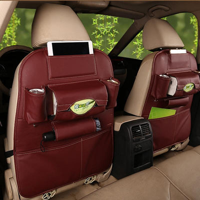 S1P Faux Leather Car Back Seat Organizer -