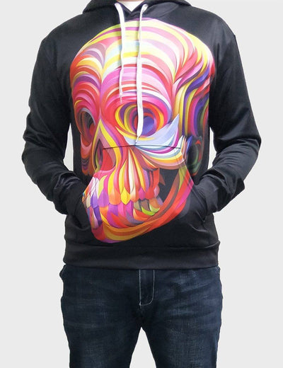 3D Abstract Skull Hoodie -