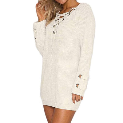 Lace-Up Oversized Sweater -