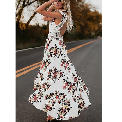 Backless Floral Maxi Dress -