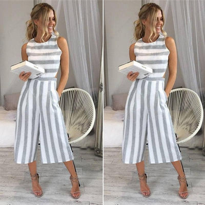 Casual Solid Striped Jumpsuit -