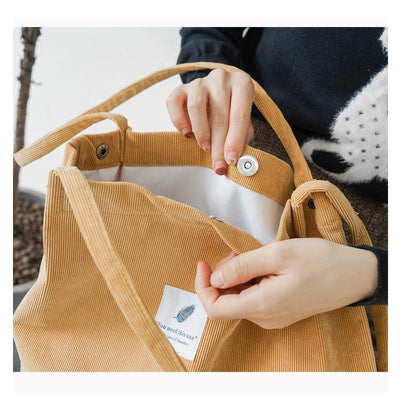 Reusable Corduroy Shopping Bag -