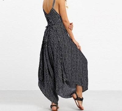 Striped Boho Loose Jumpsuit -