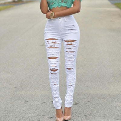 Fitted Ripped Jeans -