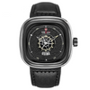 Leather Watch - 9030-B-Y-B black