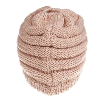 Ponytail Warm Knitted Beanie With Visor -