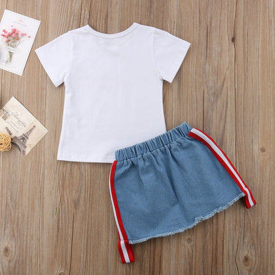 Printed White Tee + Denim Skirt -