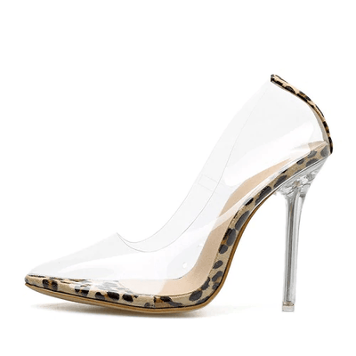 Helena Perspex Stilettos - Leopard Clear / 4