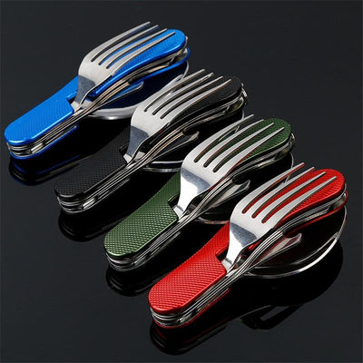 Foldable 4 in 1 Tableware Pocket Kit (Fork, Spoon, Knife, and Bottle Opener - All in One) - Red