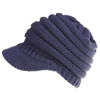 Ponytail Warm Knitted Beanie With Visor - Navy Blue