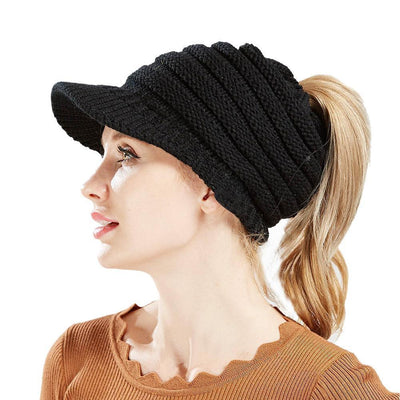 Ponytail Warm Knitted Beanie With Visor - Black 75a0bf7e349