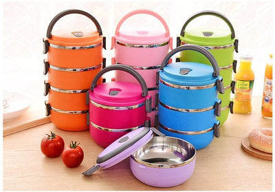 Colorful Round Bento Stainless Steel Bowls -