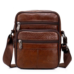 Leather Crossbody Bag - brown