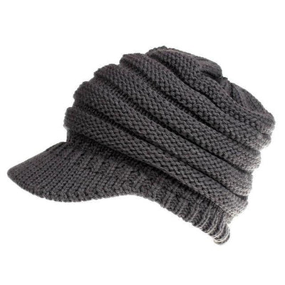 Ponytail Warm Knitted Beanie With Visor - Dark Grey