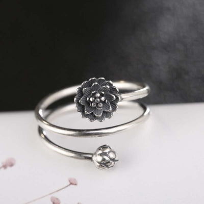 Lotus Open Cuff Silver Ring -