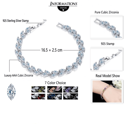 Cubic Zirconia Leaves Bracelet -