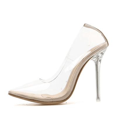 Helena Perspex Stilettos - Apricot Clear / 4