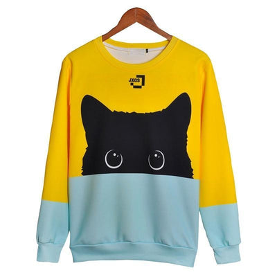 Half Face Black Cat Pullover -