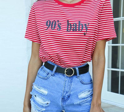 Striped 90's Baby Tee -