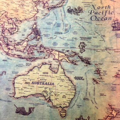 Vintage Nautical World Map Poster -